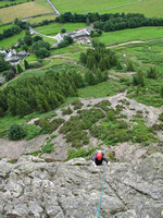 Malcolm on the second pitch of Middlefell Buttress, Langdale