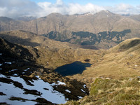 Looking over the lochan to Aonach Mheadhoin